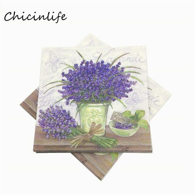 Chicinlife 20pcs Lot Purple Flowers Paper Napkins Wedding Dercoration Decoupage Tissue Party Supplies