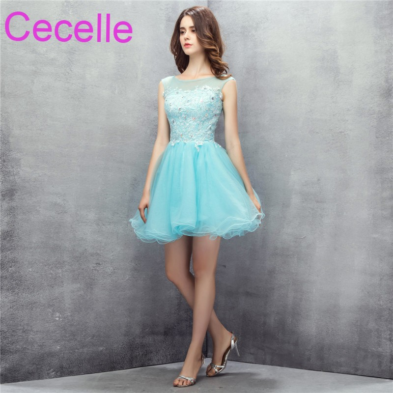 Mint Cute Short Cocktail Dresses 2019 Beaded Lace Tulle Skirt Juniors Girls Informal  Short Cocktail Party Dress Discounted bf4625c97