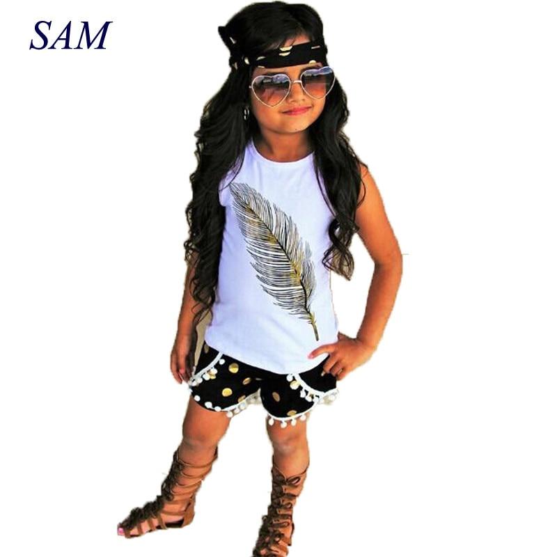 2018 Toddler Kids Baby Girls Clothes Cotton Vest Tops + Dot Tassel Shorts Pants Headband 3Pcs Summer Clothes Outfits Set
