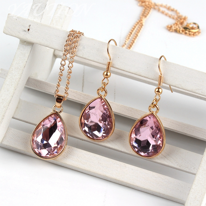 1 set Rose Gold Water drop Pendant Necklace & earrings Fashion Jewelry Pink