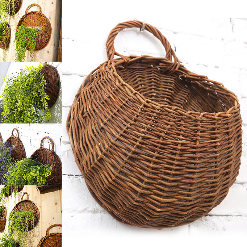 Natural Wicker Flower Basket Pot Planter Rattan Vase ... on Decorative Wall Sconces For Flowers Hanging Baskets Delivery id=64835