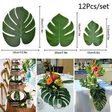 12Pcs Artificial Palm Leaves Hawaiian Luau Theme Party Decorative for Wedding Decoration Summer