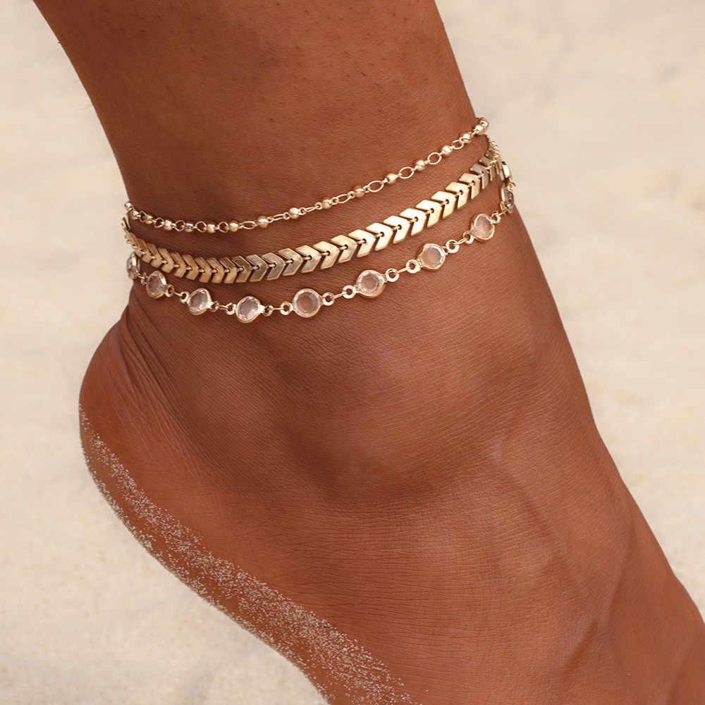 Vienkim 3 шт./лот, набор ножных браслетов с кристаллами и блестками, пляжные ювелирные изделия для ног, винтажные браслеты на щиколотке для женщин, летние ювелирные изделия, вечерние, подарок 2018