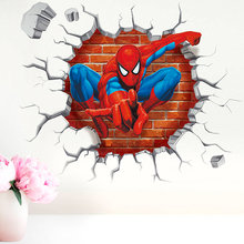 3D Famous Cartoon Movie Spiderman Wall Hole Stickers For Kids Room Boy Gift Through Decals Home Mural Art Decor Accessories