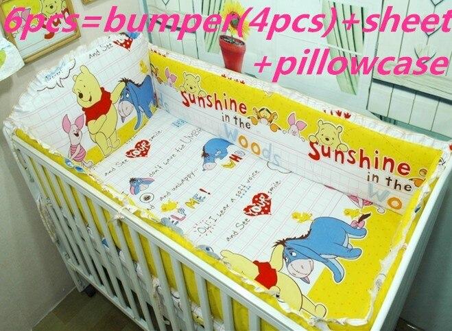Promotion! 6PCS bedding baby boy kit piece set baby bedding kit 100% cotton (bumper+sheet+pillow cover)