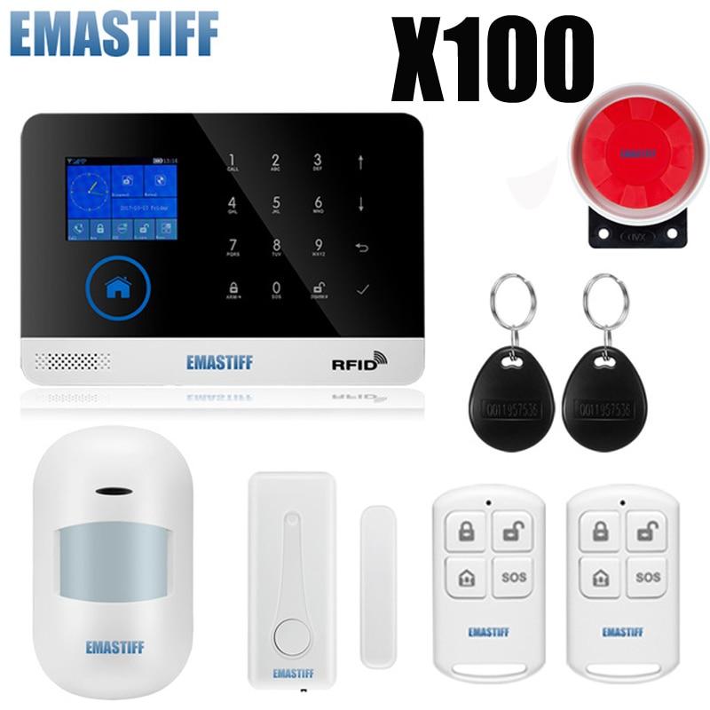 EN RU ES PL DE Switchable Wireless Home Security WIFI GSM GPRS Alarm System APP Remote Control RFID Card Arm Disarm