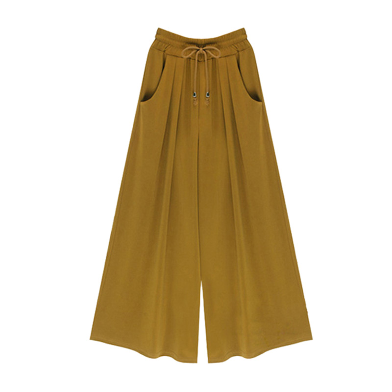 Spring Autumn Ladies Loose Streetwear Plus Size Elegant Femme Wide Leg Pants Trousers Nine Points Pants Women Casaul Lace Up M