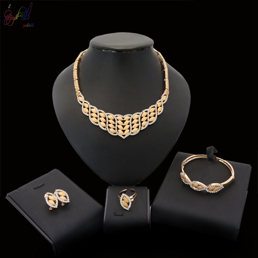 YULAILI Ladies Vintage African Statement Necklace Earrings Bracelet Ring Sets Women Wedding Gold Accessories Jewelry SetsYULAILI Ladies Vintage African Statement Necklace Earrings Bracelet Ring Sets Women Wedding Gold Accessories Jewelry Sets