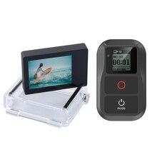ใหม่สมาร์ทรีโมทคอนโทรลสำหรับ GoPro Hero 7 6 5 4 เซสชันอุปกรณ์เสริม + Go Pro จอแสดงผล LCD BacPac สำหรับ GoPro 4 3 + 3 สีดำ