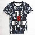 2015 nuevos hombres/mujeres de la camiseta 3d tupac/wiz khalifa/dgk/unkut/eminem camiseta de impresión moda hip hop roca t-shirt camisetas ropa hombre