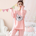 2017 new spring and autumn ladies pajamas long sleeves round neck cute suit stripes ladies home service A9092