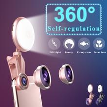 Объектив Телефона селфи заполняющий светильник широкоугольный Макро мобильный телефон специально для iPhone Xs Max samsung S8 S9 huawei P20 Pro