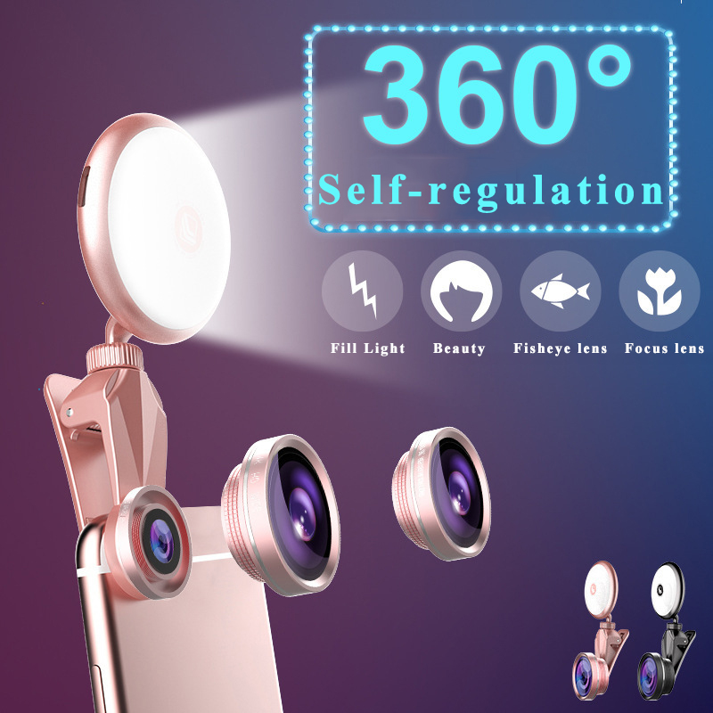 Phone Lens Selfie Fill Light Wide-Angle Macro Mobile Phone Special for iPhone Xs Max Samsung S8 S9 Huawei P20 Pro