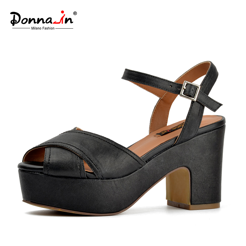Donna-in sheepskin platform sandals thick high heel women sandals natual leather classic shoes donna in 2018 women genuine leather slipper platform high heels sandals ladies shoes thick heel casual slippers fashion styles