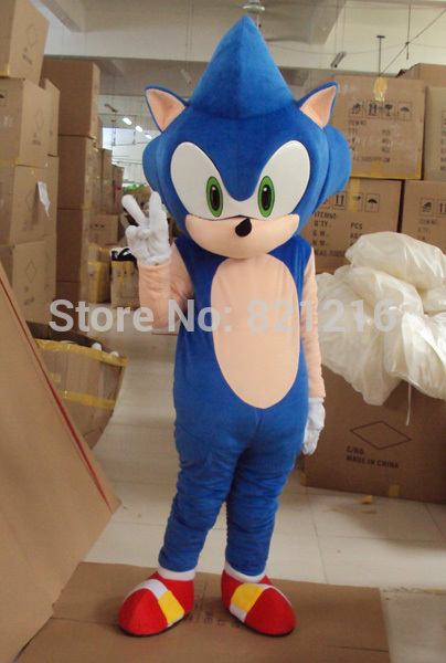 New Sonic the Hedgehog Mascot Costume Sonic Mascot Costume Cosplay Free Shipping