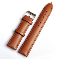 Retail High Quality1PC 20MM Genuine Leather Watchband Waterproof Straps Smooth Surface Brown Watch Band