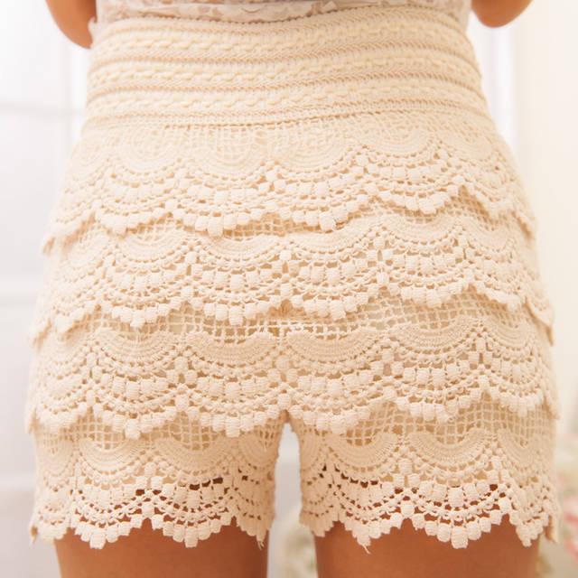 2018bd5cb6 Fashion Shorts Women New Sweet Cute Womens Crochet Short Tiered Elastic  High Waist Slim Hip White Black Hotpants Plus Size-in Shorts from Women's  Clothing ...