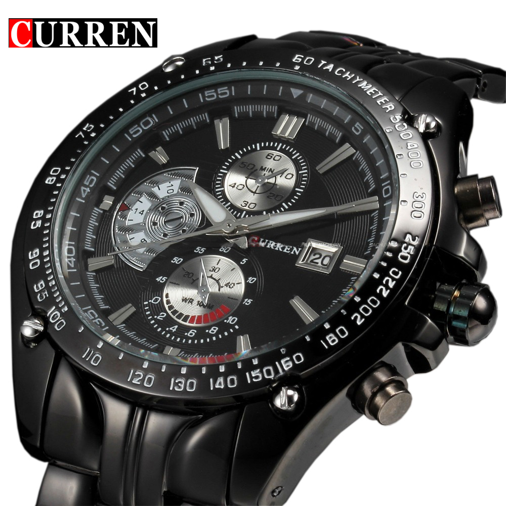 цена Curren fashion auto Date full steel Sport Watch Men's Military Business Casual quartz Wristwatch Brand Relojes Hombre Male