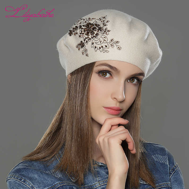 ab0a946f22ad8 ... LILIYABAIHE New Women Winter Hat wool Knitted Berets Cap with flower  Sequins diamond decoration solid colors