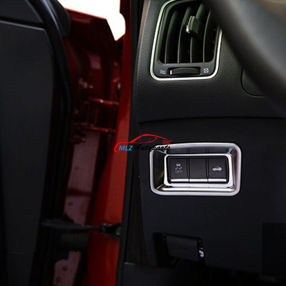 Garniture de couvercle de bouton de commutation de coffre arrière intérieur de voiture argent brillant ABS Chrome 1 PC pour Infiniti Q50 2014 2015 2016