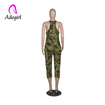 Adogirl multicolor camo sleeveless lady jumpsuits off shoulder sexy military suits plus size 3xl overall playsuits casual outfit 1