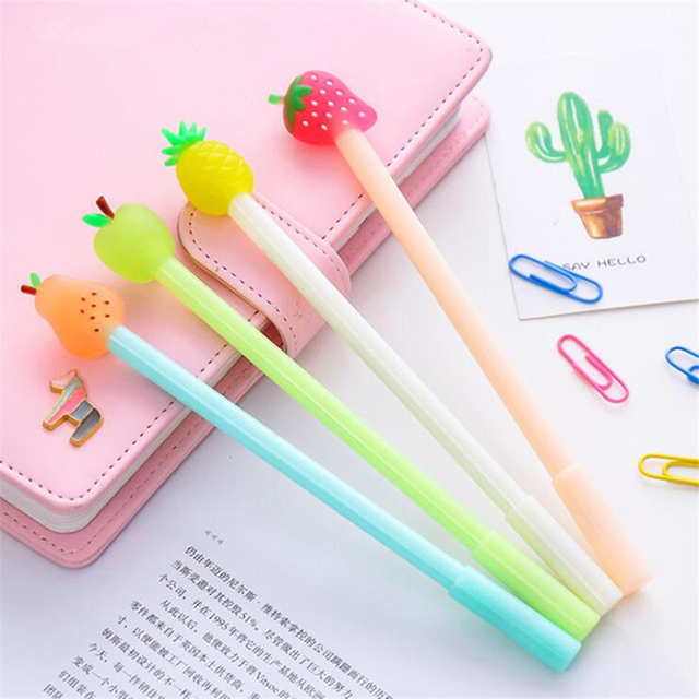 Awesome Creative Fruit Gel Pen 4Pcs/lots 0.38mm Cute Korean Stationery Pens For  Girls Office