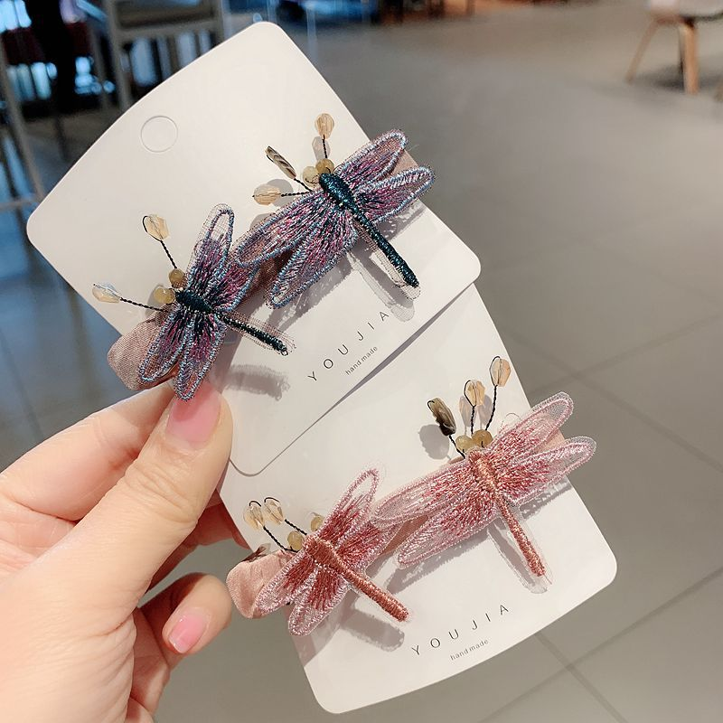 Original Dragonfly Hair Accessories Korean Hand Embroidered Hairpins Adult Hairs Bows Clip Ladies Top Spring Clips Women Girls