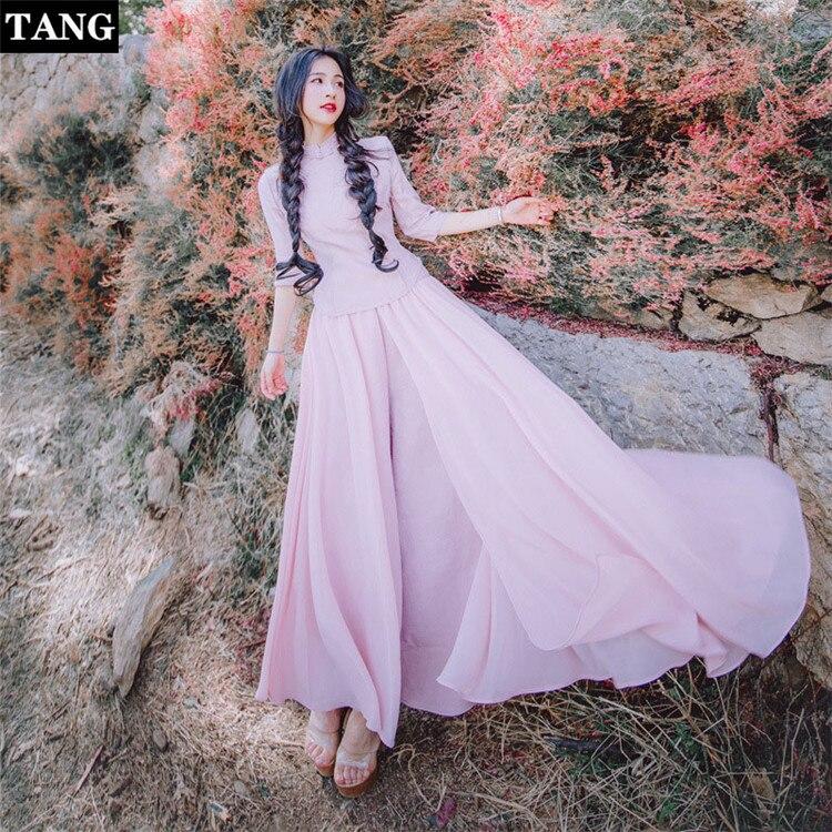 Tang spring summer pink dress 2019 half-sleeves vintage t-shirt ladies elegant  two-piece chiffon maxi