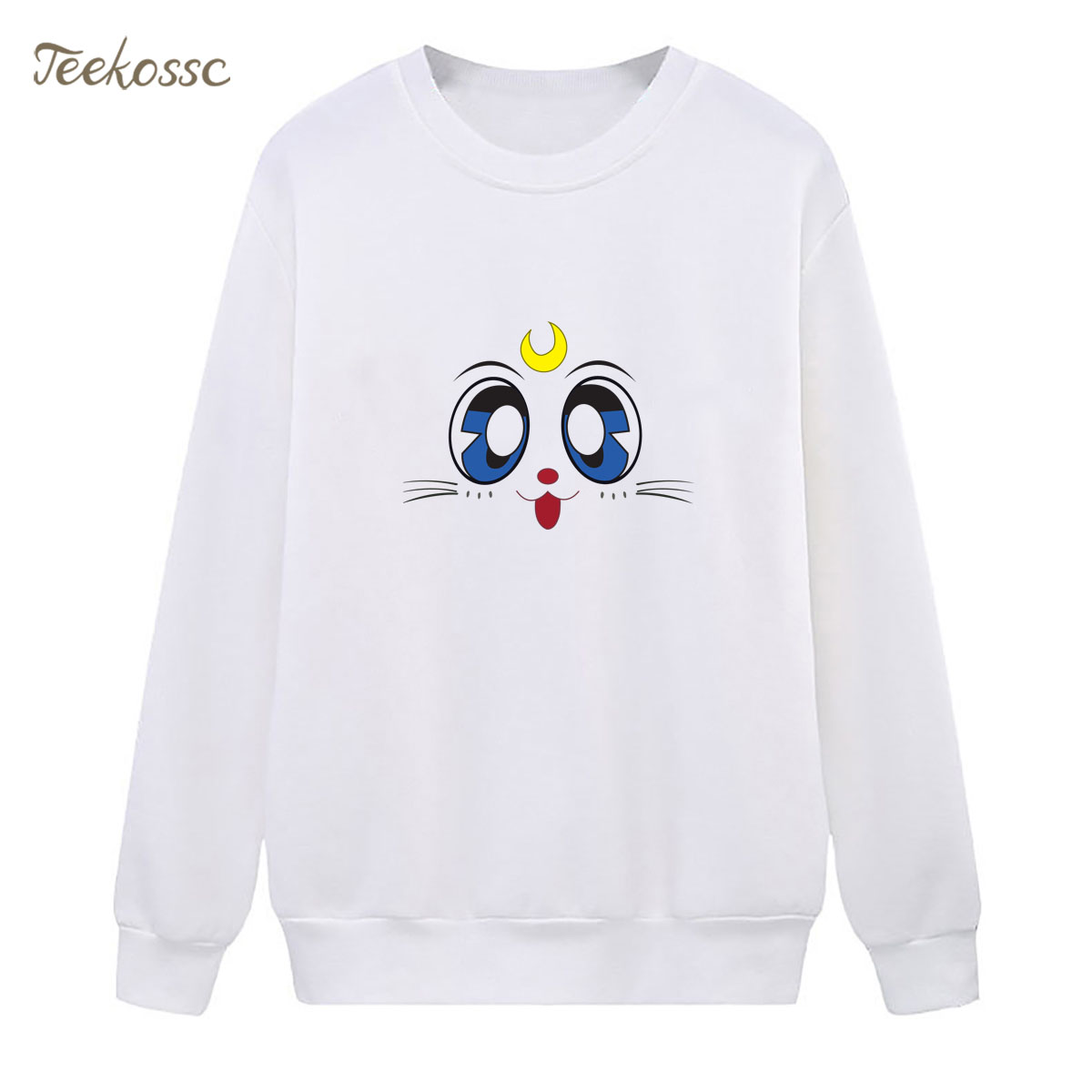Cartoon Sailor Moon Sweatshirt Print Hoodie Cat Luna 2018 Winter Autumn Women Lasdies Pullover Loose Fleece Kawaii Streetwear