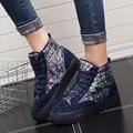 Laço de Veludo Mulher Inverno Quente Sapatos Casuais de Alta Top 2016 plataforma Sapatos Sapatas de Lona Feminino Sapatos De Neve Pele Botas De Nieve Femenina