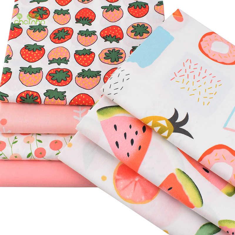 Chainho печатных твиловая, хлопковая ткань, Лоскутная Ткань, мультфильм фрукты ткани, DIY Вышивание и материал для стеганых изделий для детей, 7 шт./лот