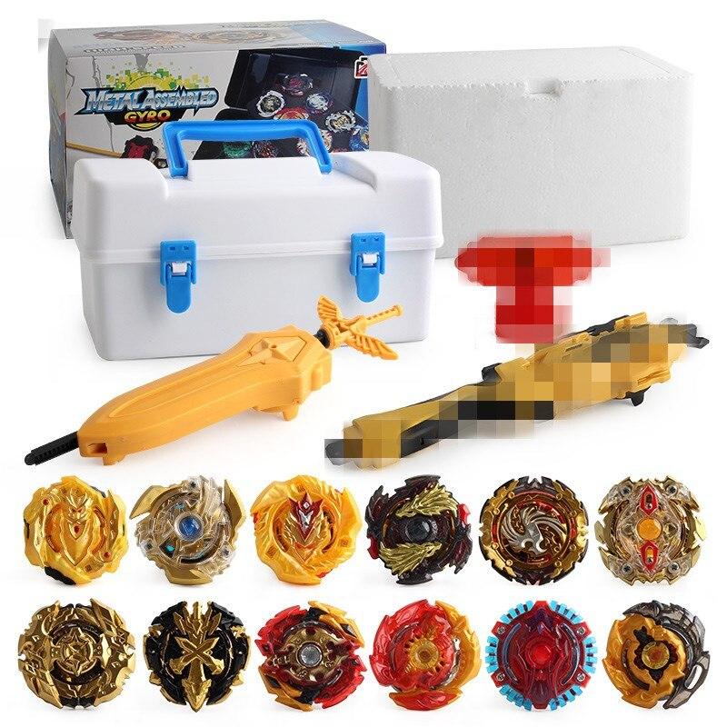 Bayblade d'or de luxe éclaté avec des lanceurs mis en métal Spinner jouet Bey lame jouets pour enfants vente Gyroscope Anti Stress