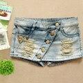 De las mujeres del Verano del agujero de talle Bajo Jeans shorts falda culottes Cortos Pantalones Cortos de Mezclilla Femenina
