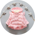 2016 autumn winter new children 's thickening cotton coat baby girls clothes wings baby jacket pink princess girl newborn coat