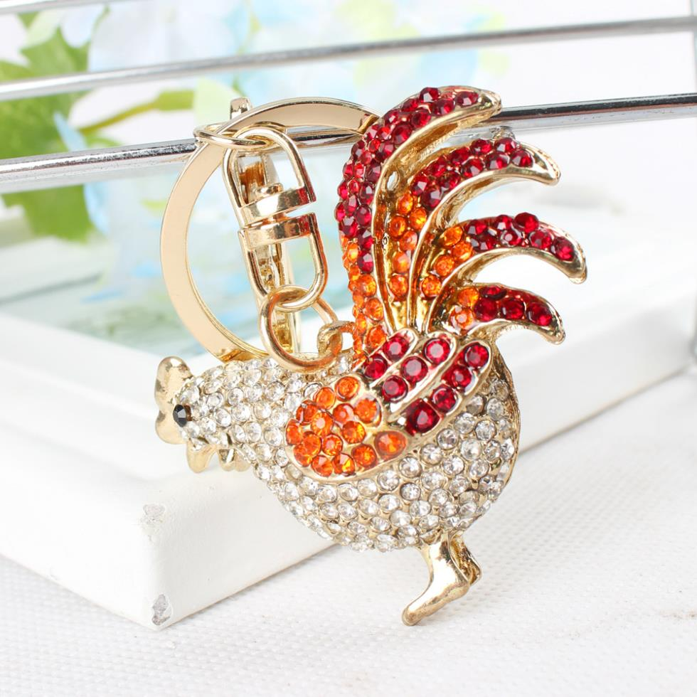 Rooster Chicken Keyring Rhinestone Crystal Charm Pendant Handbag Keychain Gift