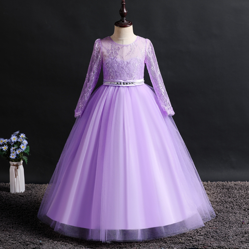 It's YiiYa   Flower     Girl     Dresses   6 Colors Full Sleeves Lace Floor Length   Girls   Pageant   Dresses   Vestidos De Noches Para Ninas 1023