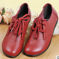 (Black+Brown+Red) Women Flats Shoes Genuine Leather Fat Heel Loafers Gommini Cow Muscle Casual Comfortable Driving Shoes
