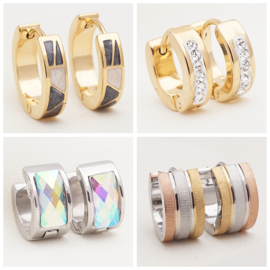 Yunkingdom 32 Pairs Different Style Fashion Geometric Stainless Steel Small Circle Hoop Earrings For Womens Girls Punk Jewelry