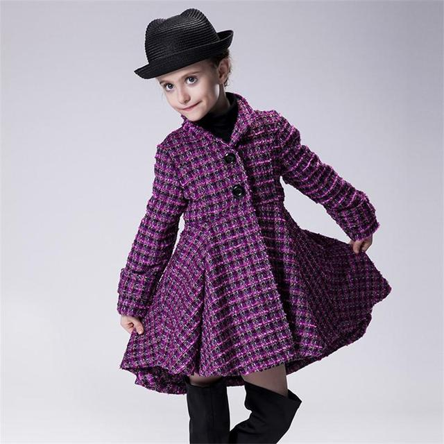 High Quality Wool Coat Children Girls Winter Outwear Vogue Long Tail Wind Coat Kids Thick Lapel Overcoats