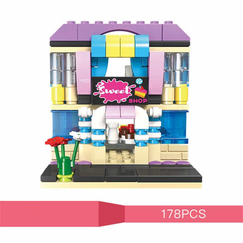 Stad Mini Straat Set View Bar Thema Restaurant Cosmetica Shop Cake Koffie Shop Bouwstenen Sets Speelgoed Voor Kinderen