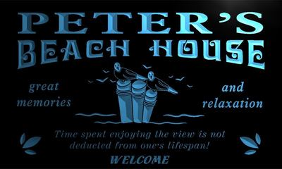 x0043-tm Peters Beach House Custom Personalized Name Neon Sign Wholesale Dropshipping On/Off Switch 7 Colors DHL