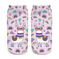 Pink Rainbow Llama New Hot Women Hosiery Printing Socks Girl Funny Meias Low Cut Ankle Sock Calcetines Christmas Gift Socks