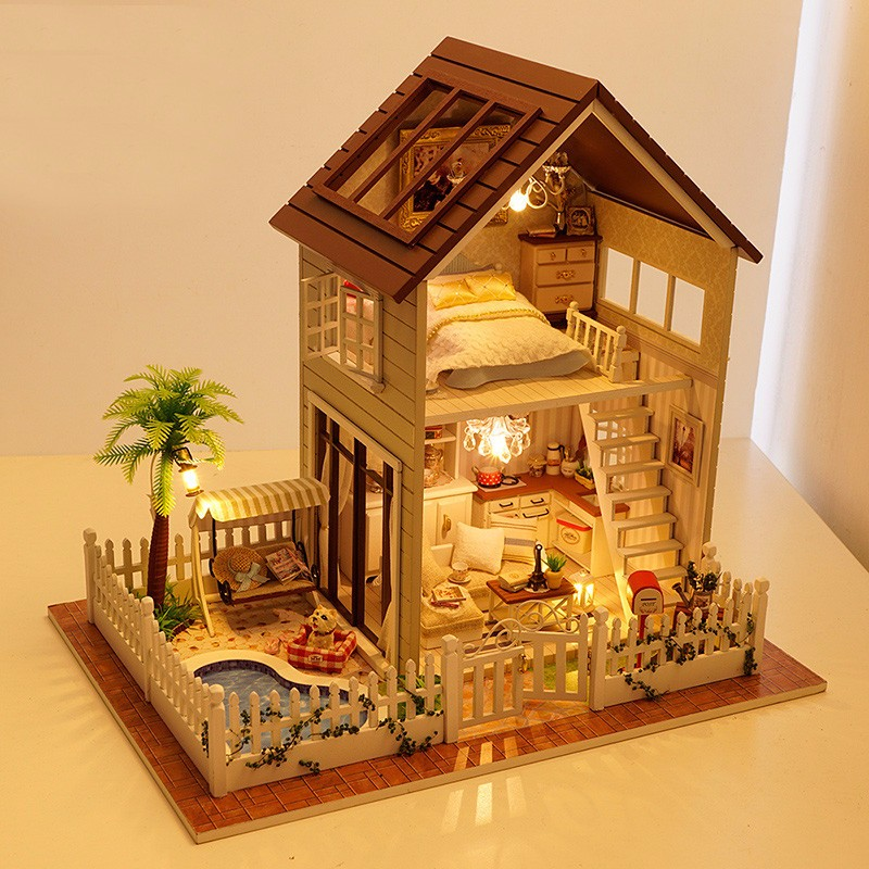 Aliexpresscom Buy Handmade Miniature Dollhouse DIY Doll House Paris Villa Girl Gift Present