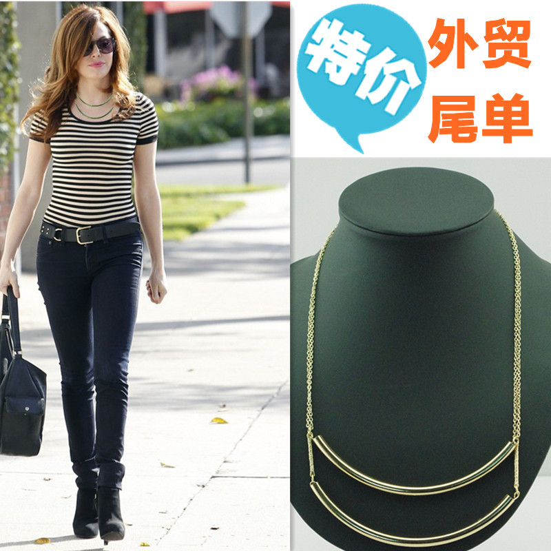Мода двойной трубки короткие Цепи Богемия металлическим Для женщин jewelry b4xr