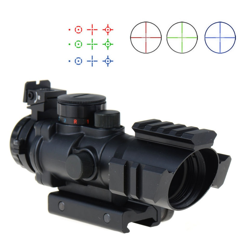 Tactical 4X32 RGB red dot sight tri-illuminated combo compact sniper rifle scope tactical riflescope 20 mm rail цена