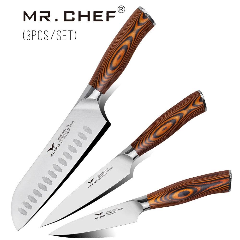 """מקצועי סכין סט יפני שף סכיני ערכת גרמנית פלדת מטבח סכו""""ם בישול אביזרי עץ ידית מאוד חד"""