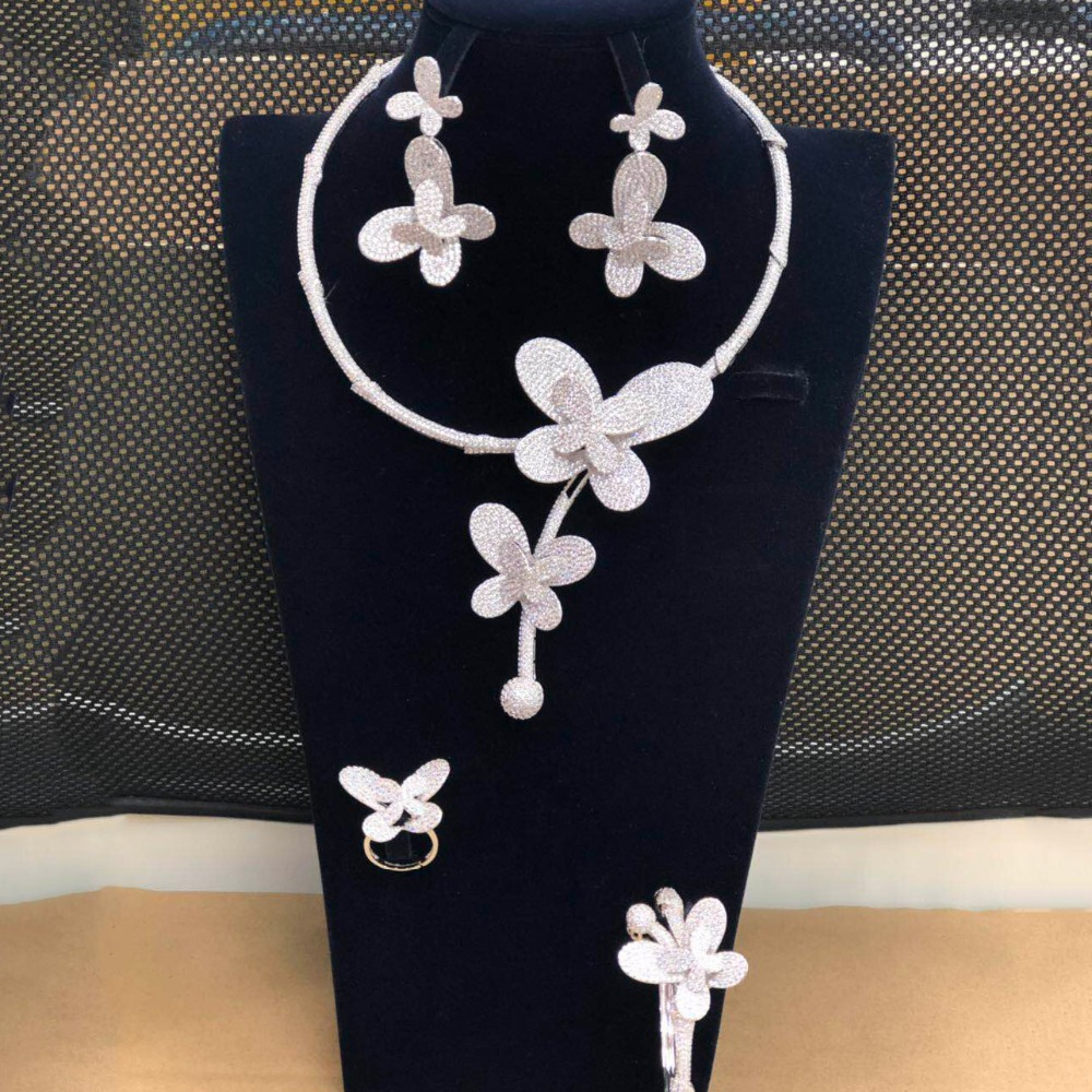 Conjunto de joyería nupcial nigeriana de 4 piezas de insectos de mariposa de lujo de GODKI para mujer Zirconia cúbica de cristal CZ Dubai India 2019-in Conjuntos de joyería from Joyería y accesorios    1