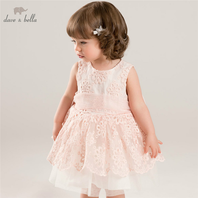 DB5657 dave bella summer baby girls princess flowers big bow wedding dress kids birthday clothes girls costumes children dress