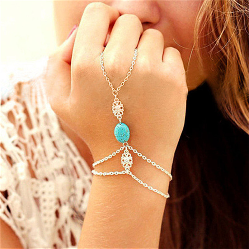 Hot Selling Fashion <font><b>Chain</b></font> <font><b>Bracelet</b></font> Drop Punk Silver Plated Women Metal <font><b>Hand</b></font> Harness <font><b>Chain</b></font> Beads Finger <font><b>Ring</b></font> Boho Jewelry image