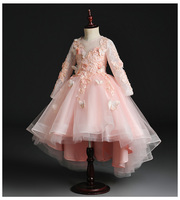 92053044fc4f06 Elegant Girl Dress Flower Girl Dress Party Pageant Gown Lace Sleeve  Princess Wedding Dress Appliques First